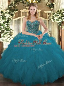 Sweetheart Sleeveless Tulle Quinceanera Dresses Beading and Ruffled Layers Lace Up