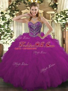 Fuchsia Sleeveless Beading and Ruffled Layers Floor Length Sweet 16 Quinceanera Dress