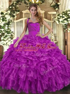 Fuchsia Halter Top Lace Up Ruffles Quinceanera Gown Sleeveless
