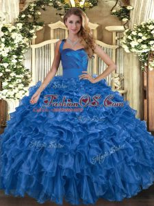 Blue Sleeveless Floor Length Ruffles Lace Up Quinceanera Gowns