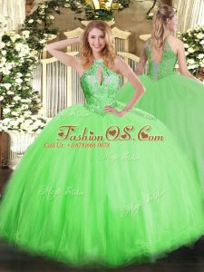 On Sale Tulle Lace Up Halter Top Sleeveless Floor Length Sweet 16 Dress Beading