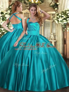 Pretty Teal Sleeveless Ruching Floor Length Quinceanera Dresses