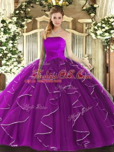 Ruffles Quinceanera Dress Purple Lace Up Sleeveless Floor Length