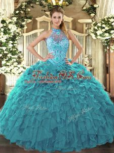 Teal Ball Gowns Organza Halter Top Sleeveless Beading and Embroidery and Ruffles Floor Length Lace Up Quinceanera Gowns