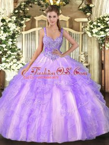 Fashionable Tulle Sleeveless Floor Length Quinceanera Gown and Beading and Ruffles