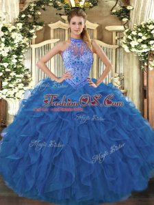 Low Price Blue Ball Gowns Organza Halter Top Sleeveless Beading and Embroidery and Ruffles Floor Length Lace Up Sweet 16 Dress
