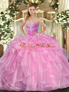 Lilac Ball Gowns Organza Sweetheart Sleeveless Beading and Ruffles Floor Length Lace Up 15th Birthday Dress