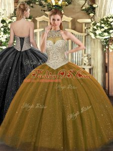 Brown Ball Gowns Beading Vestidos de Quinceanera Lace Up Tulle Sleeveless Floor Length
