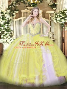 Free and Easy Yellow Sleeveless Beading and Ruffles Floor Length 15th Birthday Dress