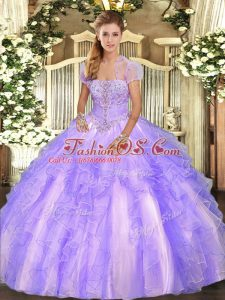Sophisticated Tulle Strapless Sleeveless Lace Up Appliques and Ruffles Ball Gown Prom Dress in Lavender