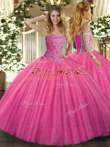High Class Sweetheart Sleeveless Lace Up 15 Quinceanera Dress Hot Pink Tulle