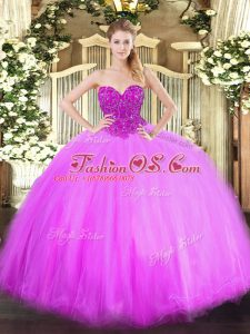 Lilac Ball Gowns Beading Quinceanera Dresses Lace Up Tulle Sleeveless Floor Length