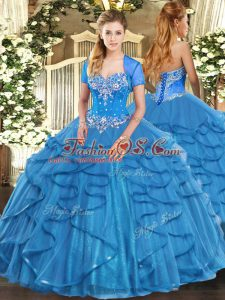 Stunning Sweetheart Sleeveless Lace Up Quinceanera Gowns Baby Blue Tulle