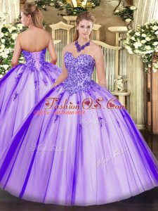 Ideal Lavender Lace Up Sweetheart Appliques Sweet 16 Quinceanera Dress Tulle Sleeveless