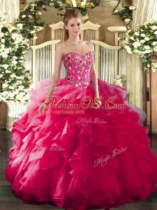 Noble Hot Pink Ball Gowns Embroidery Quinceanera Dress Lace Up Organza and Printed Sleeveless Floor Length