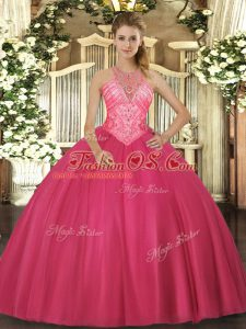 Deluxe Floor Length Ball Gowns Sleeveless Hot Pink Quinceanera Dresses Lace Up
