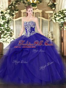 On Sale Blue Ball Gowns Beading and Ruffles Ball Gown Prom Dress Lace Up Tulle Sleeveless Floor Length