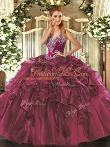 Pretty Burgundy Lace Up 15th Birthday Dress Beading and Ruffles Sleeveless Floor Length