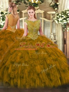 Unique Sleeveless Organza Floor Length Zipper Quinceanera Gowns in Brown with Beading and Ruffles