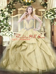 Yellow Sleeveless Beading and Ruffles Floor Length 15 Quinceanera Dress