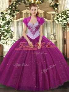 Most Popular Floor Length Lace Up 15th Birthday Dress Fuchsia for Military Ball and Sweet 16 and Quinceanera with Beading and Sequins