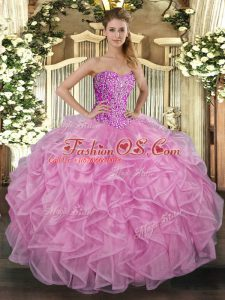 Fabulous Rose Pink Sweetheart Lace Up Beading and Ruffles Quinceanera Gowns Sleeveless