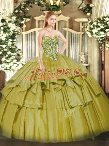 Organza and Taffeta Sweetheart Sleeveless Lace Up Beading and Ruffled Layers Sweet 16 Quinceanera Dress in Olive Green