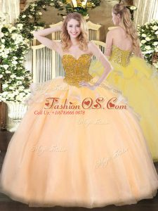 Suitable Orange Red Ball Gowns Sweetheart Sleeveless Organza Floor Length Lace Up Beading 15 Quinceanera Dress