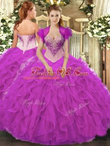 Spectacular Fuchsia Organza Lace Up Sweetheart Sleeveless Floor Length Sweet 16 Dresses Beading and Ruffles