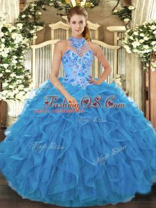 Organza Sleeveless Floor Length Quinceanera Dress and Beading and Embroidery and Ruffles
