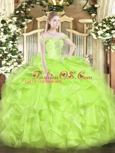 Stylish Floor Length Lace Up Quinceanera Dresses Yellow Green for Military Ball and Sweet 16 and Quinceanera with Beading and Ruffles