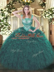 Floor Length Lace Up Sweet 16 Dresses Teal for Sweet 16 and Quinceanera with Beading and Ruffles