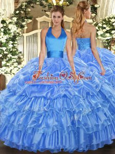Baby Blue Halter Top Lace Up Ruffled Layers and Pick Ups Quinceanera Dress Sleeveless