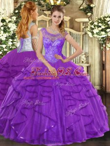 Popular Purple Ball Gowns Tulle Scoop Sleeveless Beading and Ruffles Floor Length Lace Up Sweet 16 Dresses