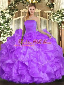 Ruffles Sweet 16 Dress Lavender Lace Up Sleeveless Floor Length