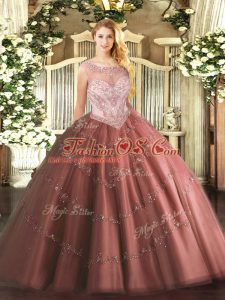Charming Brown Tulle Zipper Quinceanera Dress Sleeveless Floor Length Beading and Appliques