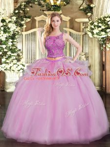 Scoop Sleeveless Ball Gown Prom Dress Floor Length Beading Lilac Organza