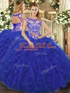 Flirting Organza Scoop Sleeveless Lace Up Beading and Ruffles Quinceanera Dress in Royal Blue