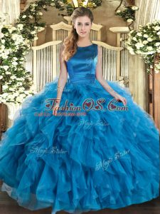 Floor Length Ball Gowns Sleeveless Teal Quinceanera Dress Lace Up