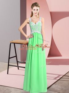 Sweet Apple Green Sleeveless Floor Length Lace Zipper Party Dress Wholesale