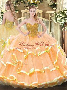 Beading and Ruffled Layers Sweet 16 Dress Peach Lace Up Sleeveless Floor Length