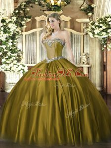 Beauteous Brown Lace Up Sweetheart Beading 15th Birthday Dress Satin Sleeveless