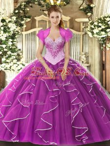Inexpensive Tulle Sweetheart Sleeveless Lace Up Beading 15th Birthday Dress in Fuchsia