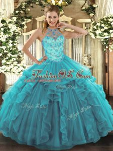 Shining Teal Organza Lace Up Halter Top Sleeveless Floor Length Sweet 16 Dress Beading and Embroidery and Ruffles