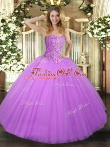 Delicate Ball Gowns Quinceanera Gown Lilac Sweetheart Tulle Sleeveless Floor Length Lace Up