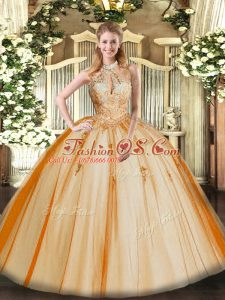 Lace and Appliques Quinceanera Dresses Orange Red Lace Up Sleeveless Floor Length