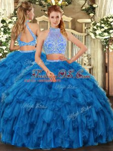 Sleeveless Floor Length Beading and Ruffles Criss Cross Sweet 16 Dress with Blue