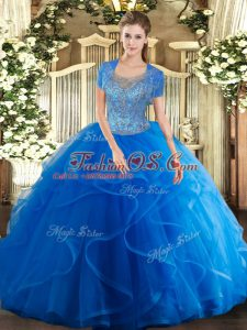 Elegant Beading and Ruffles Quinceanera Gown Royal Blue Clasp Handle Sleeveless Floor Length