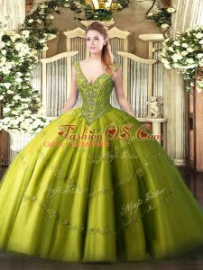 Latest Ball Gowns Quinceanera Gowns Olive Green V-neck Tulle Sleeveless Floor Length Lace Up
