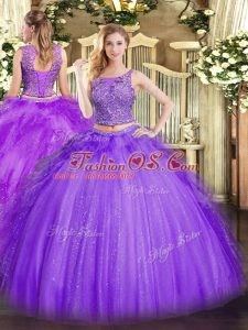 High End Sleeveless Tulle Floor Length Lace Up Quinceanera Gown in Lavender with Beading and Ruffles